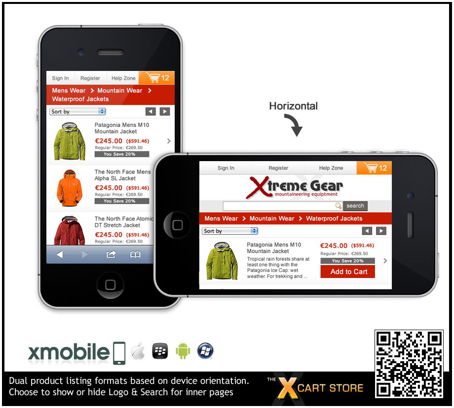 xMobile - X-Cart Smartphone mobile template for iPhone, Android ...